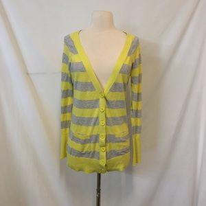 Express Yellow & Gray Stripe Button Down Cardigan